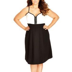 Black Textured Midi Skirt